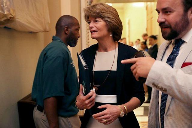 Sen. Lisa Murkowski, R-Alaska, leaves a meeting of GOP senators at the Capitol on June 22, 2017, where most had their first chance to look at legislation aimed at overhauling the Affordable Care Act. (Photo: Chip Somodevilla/Getty Images)