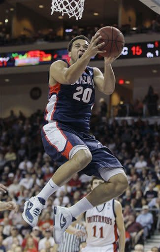 Gonzaga's Elias Harris goes up for a shot against Saint Mary's in the first half during the NCAA West Coast Conference tournament championship basketball game, Monday, March 5, 2012, in Las Vegas. (AP Photo/Julie Jacobson)