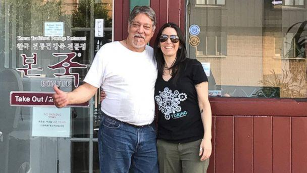 PHOTO: Al Annunziata, 63 and his daughter, Jyll Justamond, stand in front of what used to be the bar Annunziata worked in 40 years ago in Palisades Park, New Jersey. (Jyll Justamond )