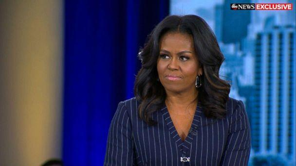 PHOTO: Former first lady Michelle Obama speaks out in an exclusive live interview with ABC News' Robin Roberts in Chicago about her memoir, 'Becoming.' (ABC News)