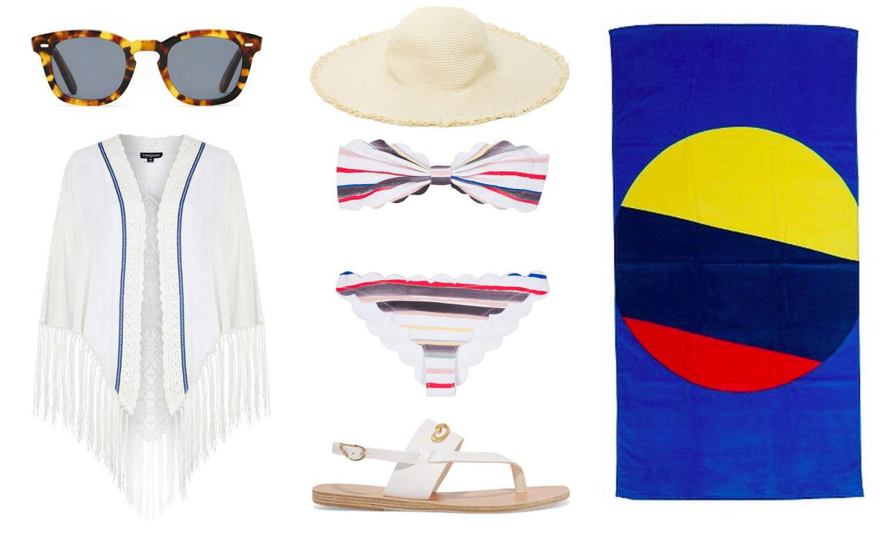 <p>If you enjoy swimming at the beach or just relaxing by the shore, these essentials make any beach outing a success. A cute bikini and skin-saving coverup, plus these embellished leather sandals — a collaboration between Ancient Greek Sandals + Ilias LALAoUNIS — will make you the most stylish one on the sand.</p>