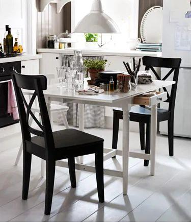 """Quickly expand your table to seat more people with this drop-leaf table. <a href=""""https://fave.co/2YJe3AA"""" target=""""_blank"""" rel=""""noopener noreferrer"""">Find it for $130 at IKEA.</a>"""