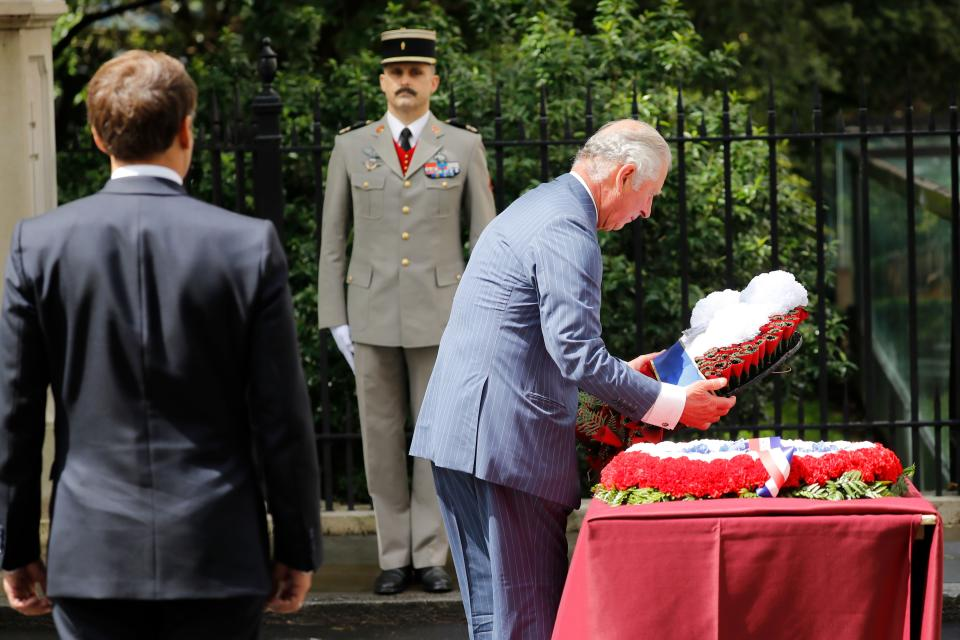 Prince Charles lays a wreath at the statue of former French president Charles de Gaulle at Carlton Gardens. (Getty Images)