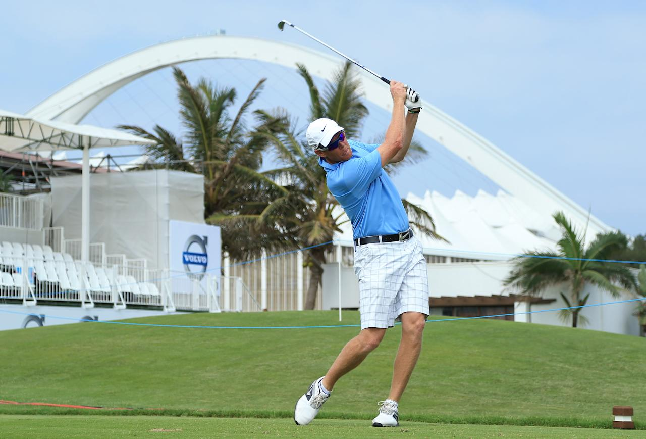 DURBAN, SOUTH AFRICA - JANUARY 09:  Former South Africa cricketer Shaun Pollock hits a tee shot during the Pro-Am for the Volvo Champions at Durban Country Club on January 9, 2013 in Durban, South Africa.  (Photo by Richard Heathcote/Getty Images)