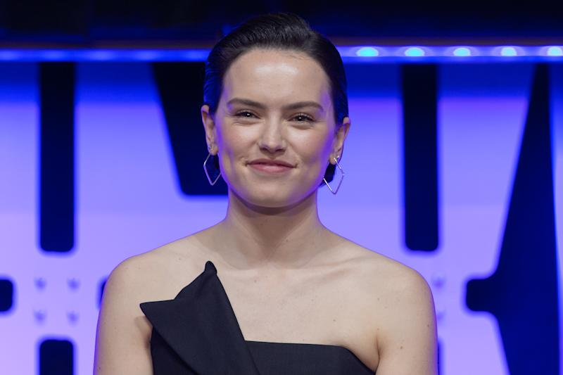 "CHICAGO, IL - APRIL 12: Actress Daisy Ridley appears at the ""Star Wars: Episode IX"" panel presentation at the 2019 Star Wars Celebration on April 12, 2019 in Chicago, Illinois. (Photo by Bill Watters/WireImage)"
