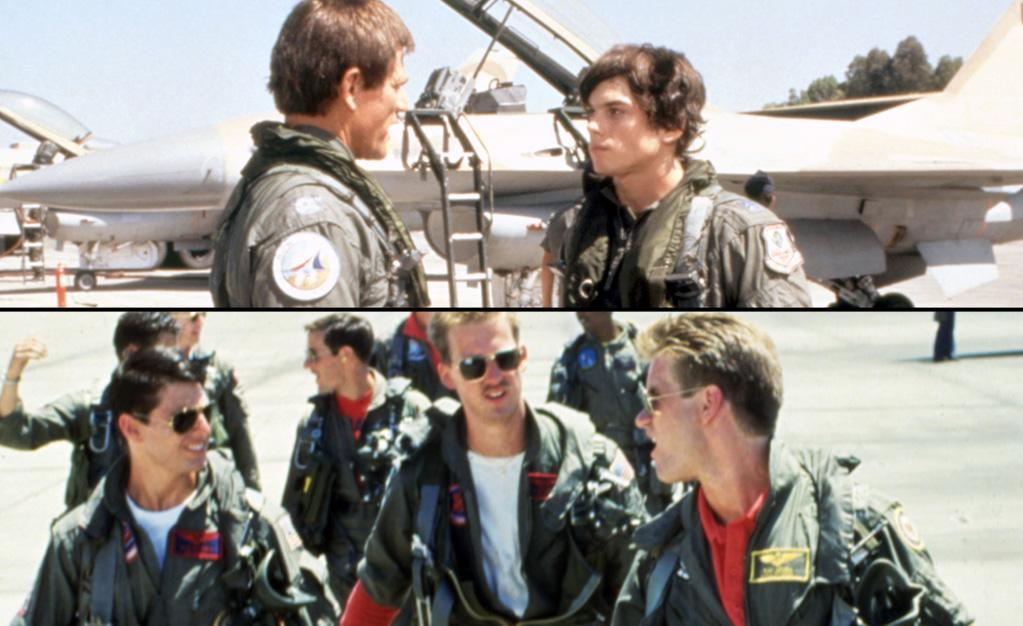 "<a target=""_blank"" href=""http://movies.yahoo.com/movie/iron-eagle/"">""Iron Eagle""</a> (January 17, 1986)<br><br><b>Synopsis:</b> Doug is the teenage son of a U.S. Air Force pilot who was shot down over  a Middle Eastern country and is being held hostage. Frustrated by the  government's inability to secure his father's release, Doug gets some of  his school friends to help him with his personal plan to save his  father. The boys manage to get the use of two Air Force jets and Doug  persuades a veteran pilot to fly one while he flies the other.<br><b>Score on Rotten Tomatoes:</b> N/A<br><b>U.S. box office:</b> $24m<br><br><a target=""_blank"" href=""http://movies.yahoo.com/movie/top-gun/"">""Top Gun""</a> (May 16, 1986)<br><br><b>Synopsis:</b> A young recruit aspires to become the top fighter pilot in the prestigious naval training school he attends.<br><b>Score on Rotten Tomatoes:</b> 49%<br><b>U.S. box office:</b> $177m"