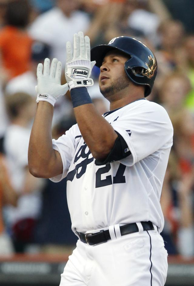 DETROIT, MI - AUGUST 3: Jhonny Peralta #27 of the Detroit Tigers celebrates his solo home run against the Chicago White Sox in the second inning at Comerica Park on August 3, 2013 in Detroit, Michigan. (Photo by Duane Burleson/Getty Images)