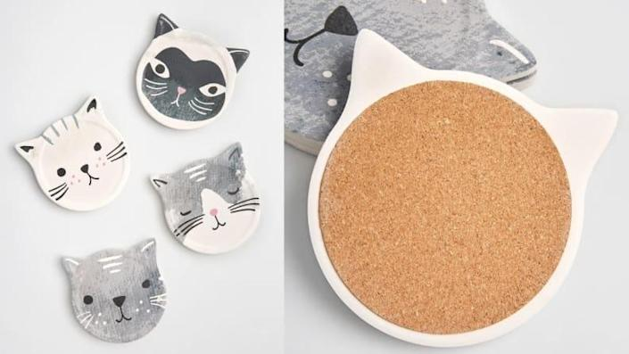 These coasters are the perfect accent for any cat lady's home.