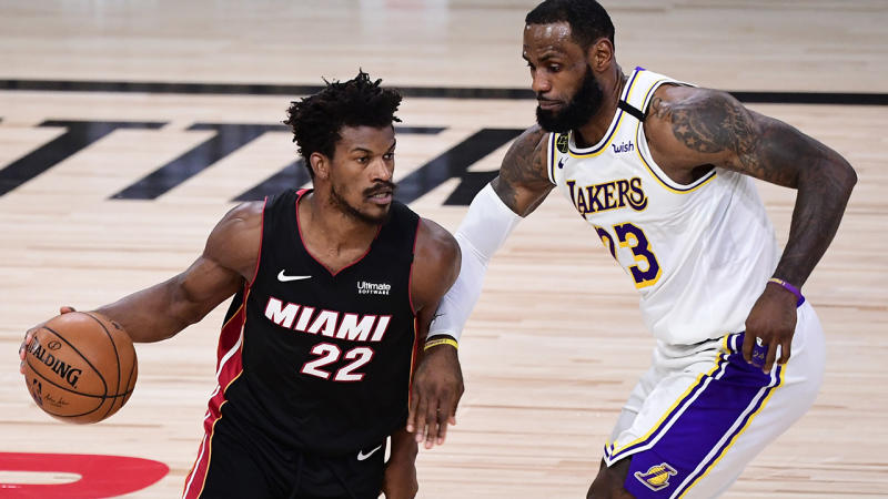 Miami forward Jimmy Butler powered the Heat past LeBron James and the LA Lakers to reduce their series lead to 2-1. (Photo by Douglas P. DeFelice/Getty Images)