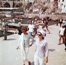 "<p>First Lady Jacqueline Kennedy walks with Marella Agnelli towards the yacht ""Agneta.""<br><br></p>"