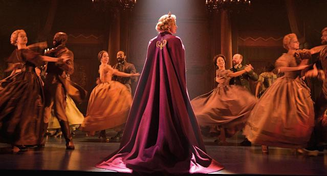 Caissie Levy (Elsa) and the company of the original Broadway production of Frozen. (Photo by Deen van Meer)
