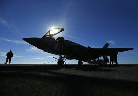 A Lockheed Martin Corp's F-35C Joint Strike Fighter is shown on the deck of the USS Nimitz aircraft carrier