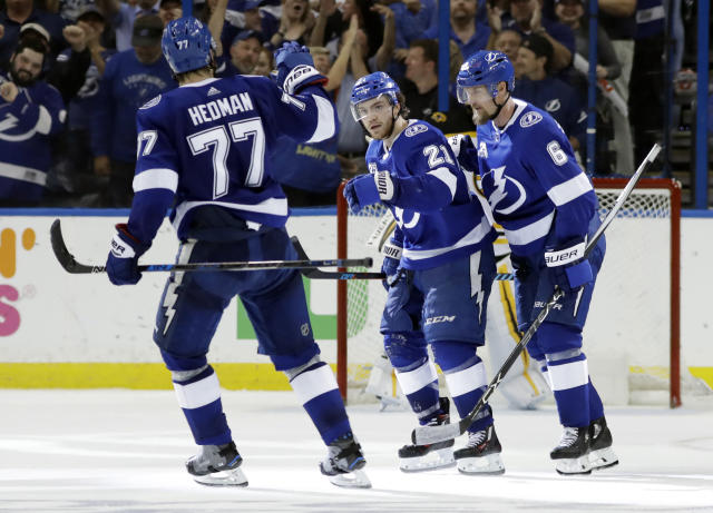 Tampa Bay Lightning center Brayden Point (21) celebrates his goal with defenseman Victor Hedman (77) and defenseman Anton Stralman (6) during the third period of Game 2 of an NHL second-round hockey playoff series Monday, April 30, 2018, in Tampa, Fla. (AP Photo/Chris O'Meara)