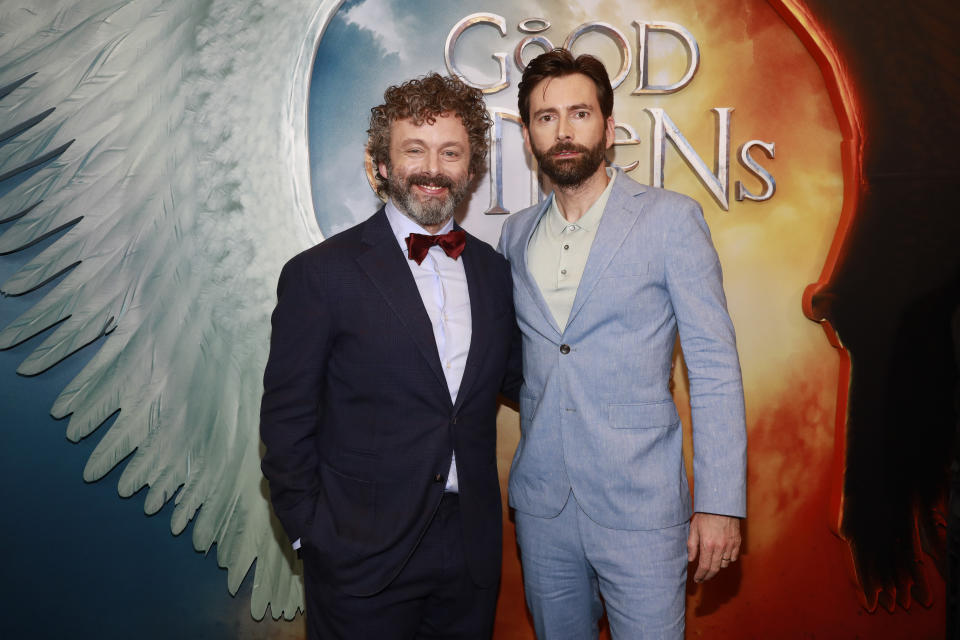 """Michael Sheen, left, and David Tennant, right, attend the premiere of Amazon Prime Video's """"Good Omens"""" at the Whitby Hotel on Thursday, May 23, 2019, in New York. (Photo by Andy Kropa/Invision/AP)"""