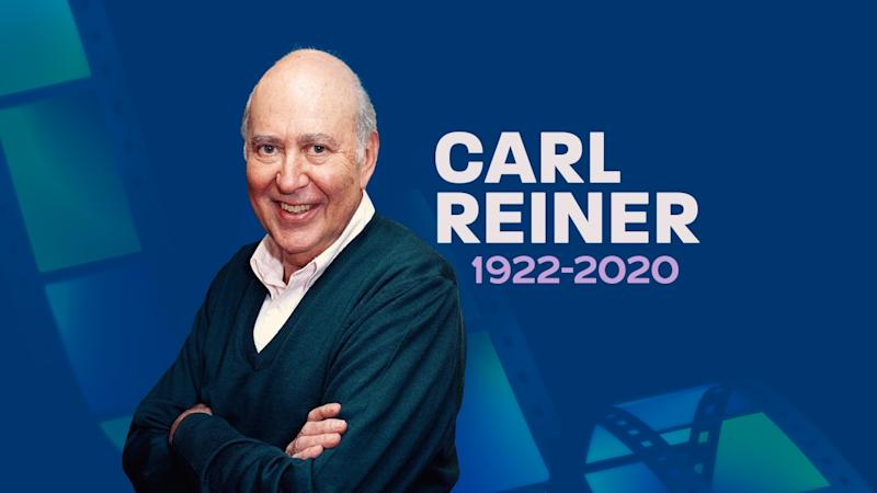 CARL REINER headshot, director, on texture with 1922-2020 lettering, finished graphic
