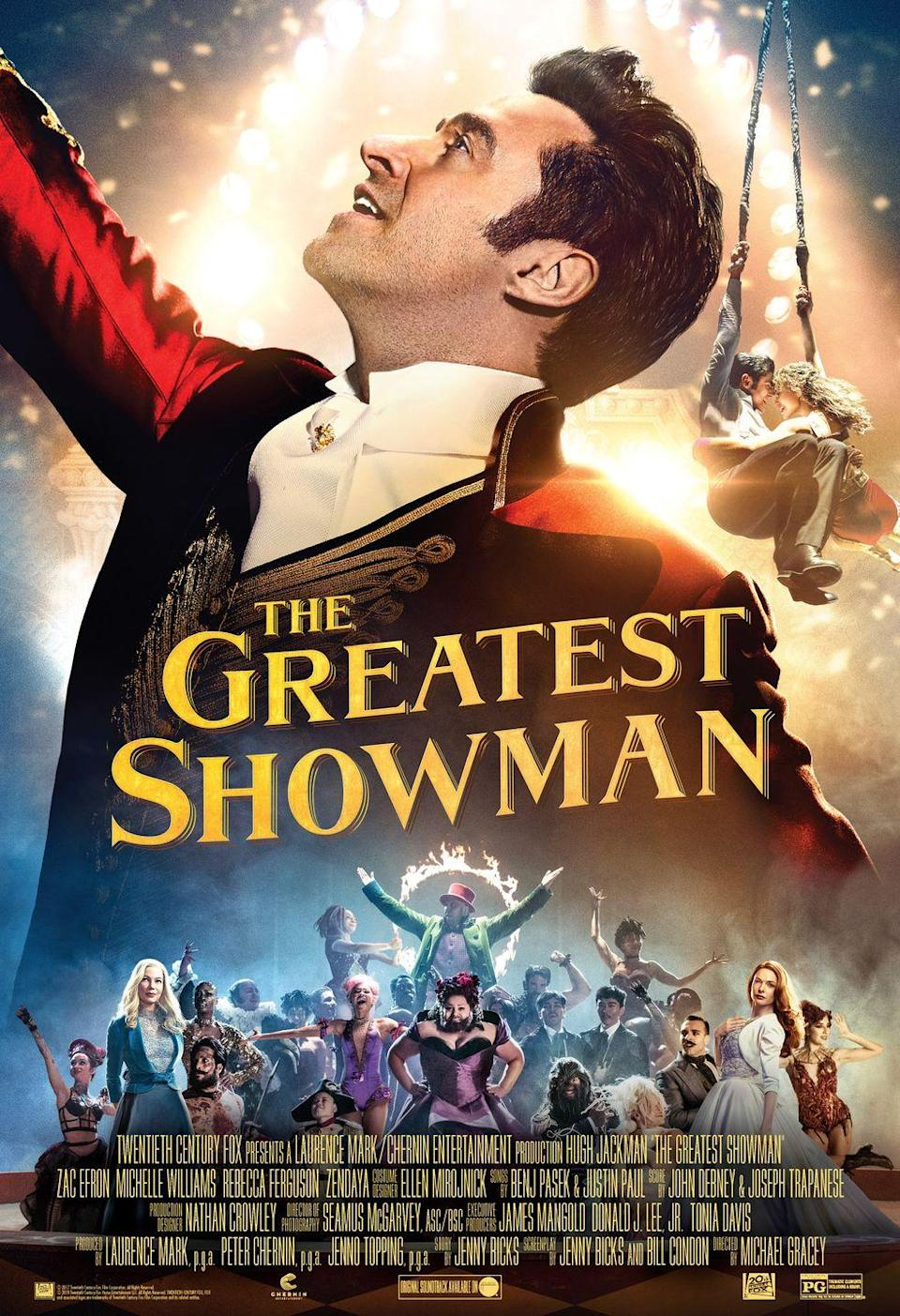 "<p>The story of how P.T. Barnum got his start in the circus business is told through some spectacular song and dance numbers starring Hugh Jackman, Zendaya, Zac Efron, and more. You'll run to give the soundtrack another listen within minutes of the movie ending.</p><p><a class=""link rapid-noclick-resp"" href=""https://www.amazon.com/Greatest-Showman-Hugh-Jackman/dp/B078HT6H7K/ref=sr_1_1?tag=syn-yahoo-20&ascsubtag=%5Bartid%7C10063.g.34344525%5Bsrc%7Cyahoo-us"" rel=""nofollow noopener"" target=""_blank"" data-ylk=""slk:WATCH NOW"">WATCH NOW</a></p>"