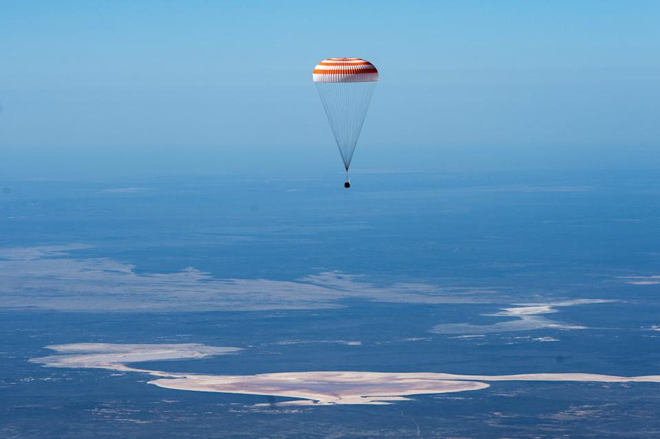 The Soyuz MS-15 spacecraft carrying three astronauts back from the International Space Station parachutes down to Earth before landing in Kazakhstan. NASA astronauts Jessica Meir and Drew Morgan and their Russian crewmember Oleg Skripochka of Roscosmos safely touched down today (April 17) at 1:16:43 a.m. EDT (0516 GMT or 11:16 a.m. local Kazakh time), southeast of the town of Dzhezkazgan.