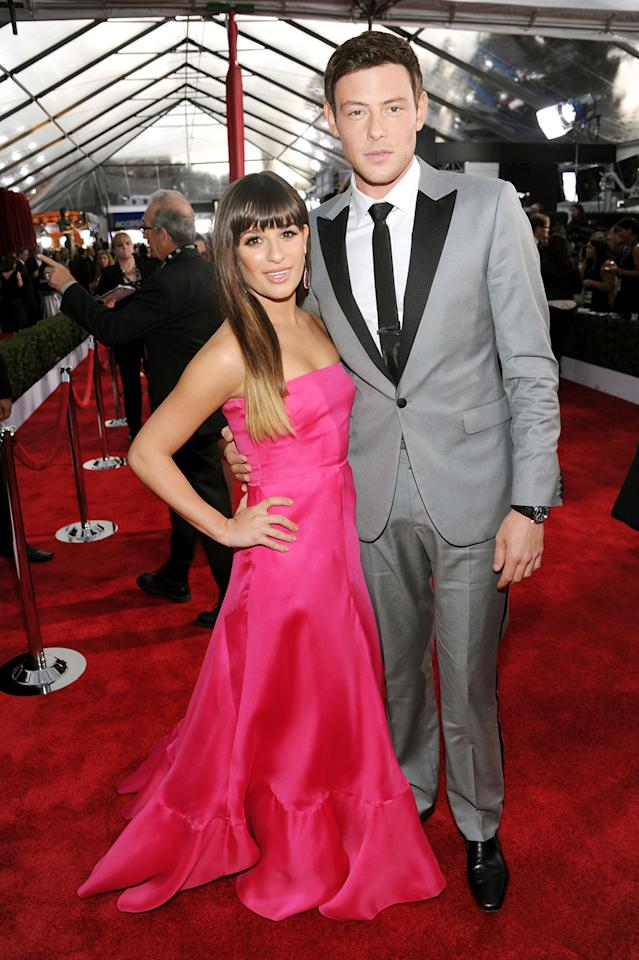 Lea Michele and Cory Monteith arrive at the 19th Annual Screen Actors Guild Awards at the Shrine Auditorium in Los Angeles, CA on January 27, 2013.
