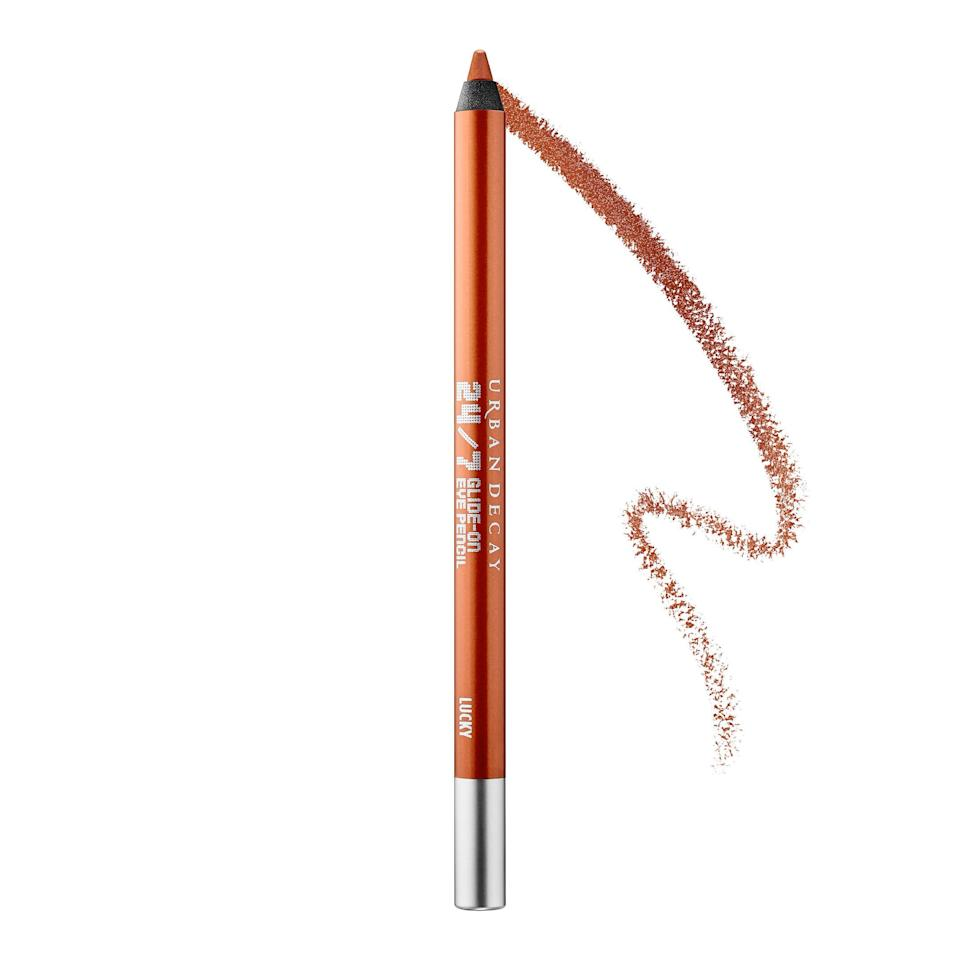 "<p><strong>Most Flattering Color: Coppery Bronze</strong></p> <p>Have a metal moment: ""Try contrasting colors that are opposite from blue on the color wheel like gold, copper, and peach, to help make the blue in the eyes brighter and bluer,"" says Richards.</p> <p><strong>TRY:</strong> <b>Urban Decay 24/7 Glide-On Eye Pencil in ""Lucky"" ($22); </b><a href=""https://click.linksynergy.com/deeplink?id=93xLBvPhAeE&mid=2417&murl=https%3A%2F%2Fwww.sephora.com%2Fproduct%2F24-7-glide-on-eye-pencil-P133707&u1=SL%2CRX_1706_EyelinerforYourEyeColor_BlueEyesBronze%2Crellis1271%2CSOU%2CIMA%2C362796%2C201908%2CI"" target=""_blank"">sephora.com</a></p>"