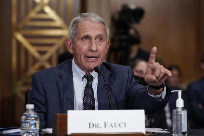 Top infectious disease expert Dr. Anthony Fauci responds to accusations by Sen. Rand Paul, R-Ky., as he testifies before the Senate Health, Education, Labor, and Pensions Committee, on Capitol Hill in Washington, Tuesday, July 20, 2021. (J. Scott Applewhite/AP Photo)