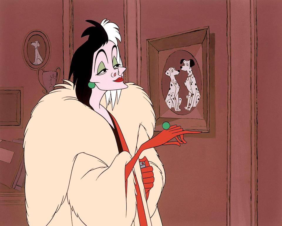 <p>Whip out that long, sleek, black dress and pair it with green earrings and a green ring to resemble the evil high-fashion icon, <strong>Cruella De Vil</strong>. Don't forget to add a pair of red gloves, a large faux fur coat, and a split-colored black-and-white wig to tie the look together.</p>