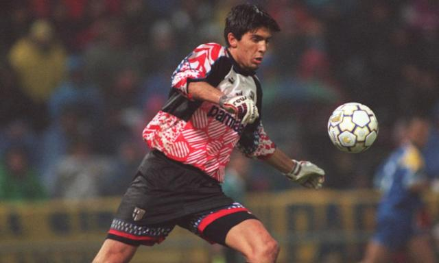 """<span class=""""element-image__caption"""">A 17-year-old Gianluigi Buffon in action for Parma - in 1995.</span> <span class=""""element-image__credit"""">Photograph: Allsport/Getty Images</span>"""