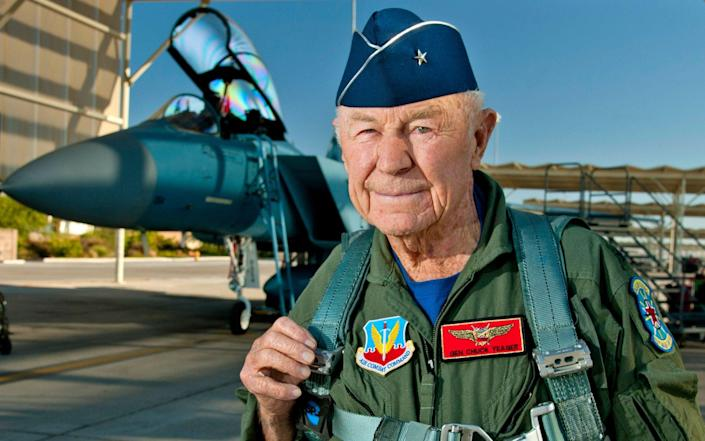 """Chuck"" Yeager prepares to board an F-15D Eagle from the 65th Aggressor Squadron at Nellis Air Force Base, Nevada in 2012 - AFP"