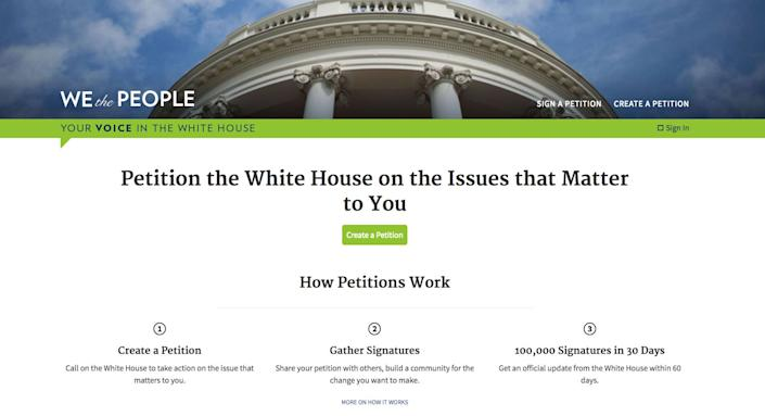 """The """"We the People"""" website was launched in 2011 in the Obama administration. (Photo: We the People)"""