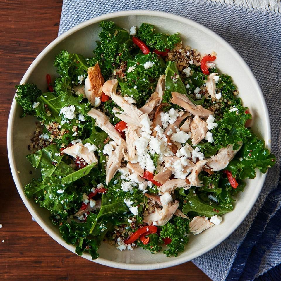 <p>Toss the cooked chicken into this healthy 5-ingredient salad recipe while it's still warm to lightly wilt the kale, making it softer and easier to eat. Using store-bought salad dressing saves time, but you could also make your own Mediterranean vinaigrette.</p>