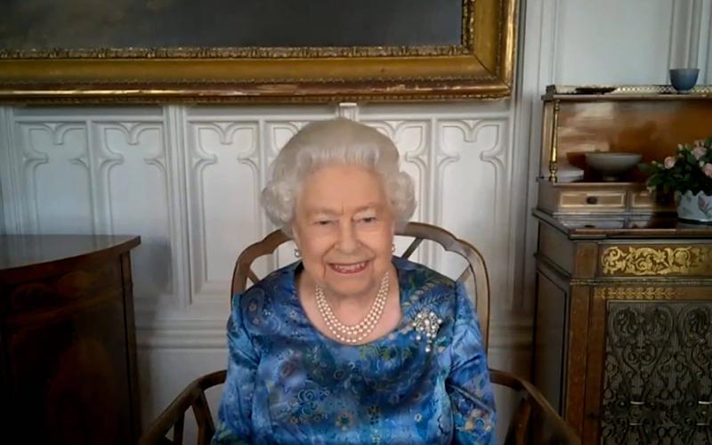 The Queen conducted the meeting via a video call from Windsor Castle - PA