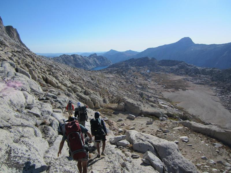 This Sept. 19, 2012 photo shows hikers on a guided backcountry trip in Yosemite National Park near Stubblefield Canyon. For hikers looking for a challenge, off-trail trips to the backcountry offer adventure and access to less crowded, pristine areas of the park. (AP Photo/John Pain)
