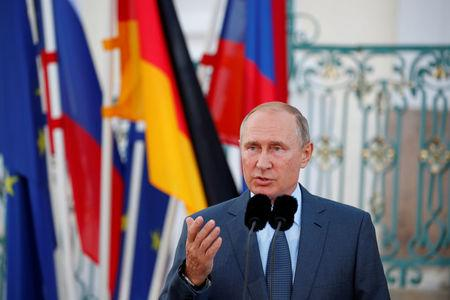 Putin speaks at Meseberg Palace in Gransee