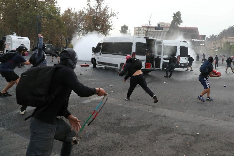 Clashes during a protest against Chile's government in Santiago
