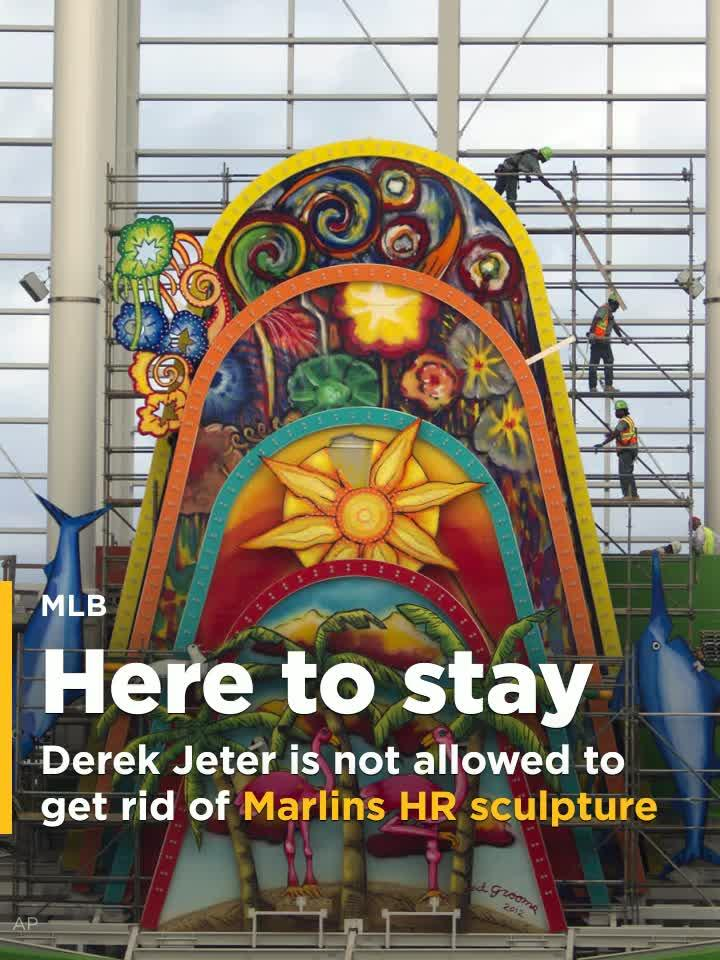 Derek Jeter and the new Marlins ownership group will not be allowed to remove the home run sculpture in Marlins Park.