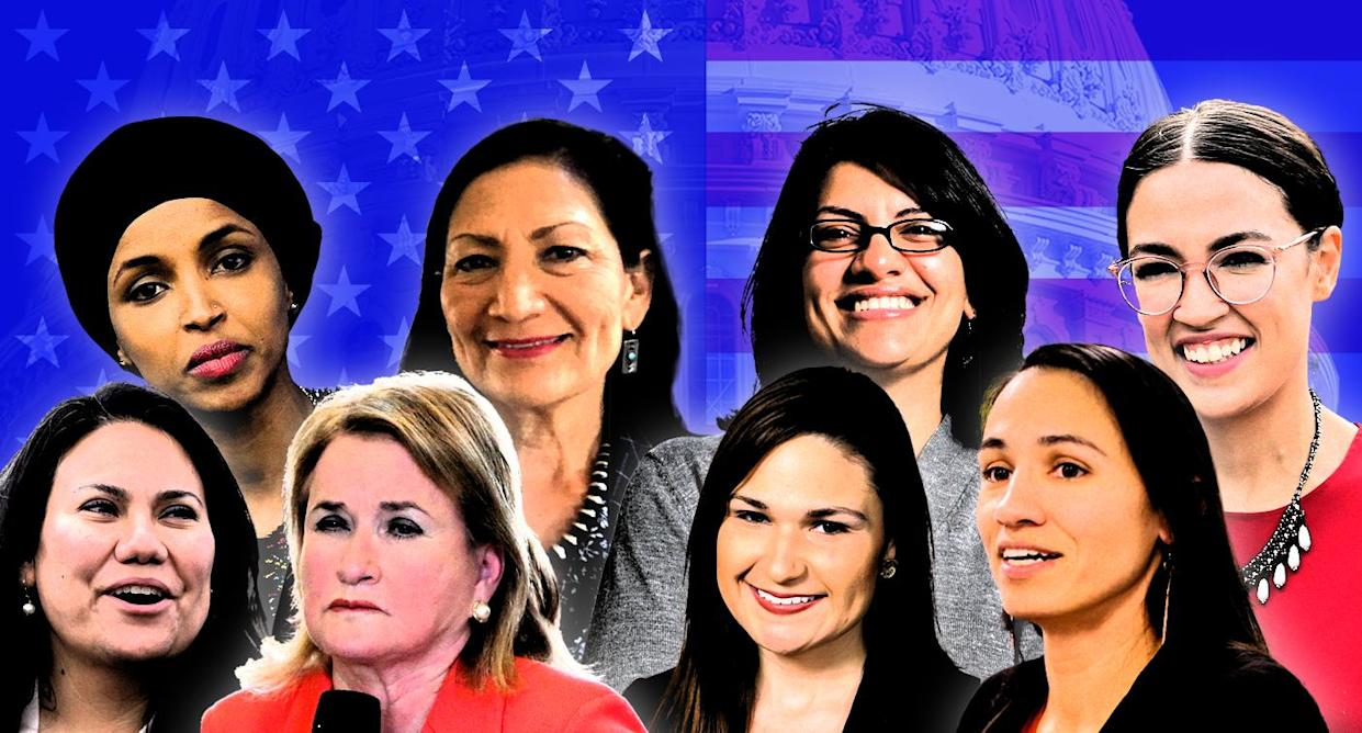 Clockwise from top left: Ilhan Omar, Deb Haaland, Rashida Tlaib, Alexandria Ocasio-Cortez, Sharice Davids, Abby Finkenauer, Sylvia Garcia and Veronica Escobar. (Photo illustration: Yahoo News; photos: AP)