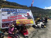 FILE PHOTO: Demonstrators block a road access to a copper mine during a protest in Fuerabamba