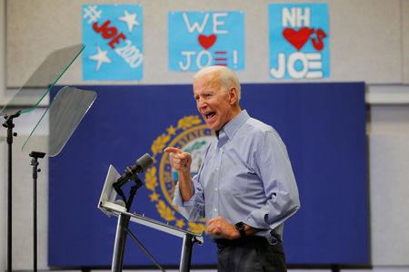 Democratic 2020 U.S. presidential candidate and former Vice President Joe Biden speaks at a campaign stop in Manchester, New Hampshire, U.S., May 13, 2019.   REUTERS/Brian Snyder