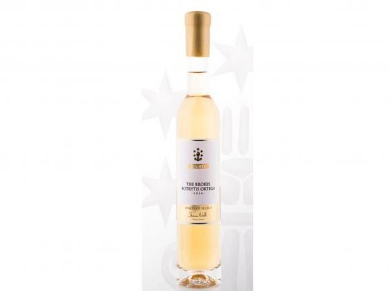 An expensive, but a worthwhile investment, a bottle of this brokes botrytis ortega 2016 is the perfect dessert wine (Denbies)