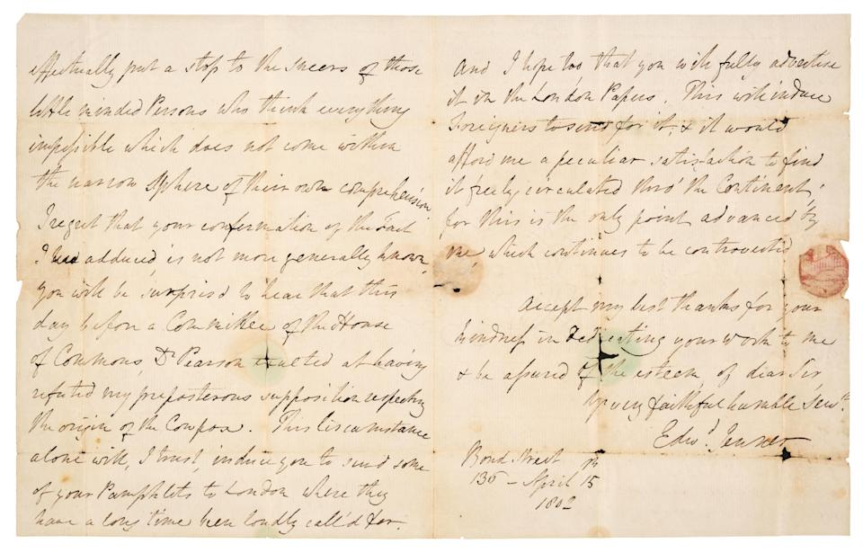 Dr Jenner wrote to Dr Loy to thank him for his research vindicating his theory about his smallpox vaccine (Dominic Winter Auctioneers/PA)