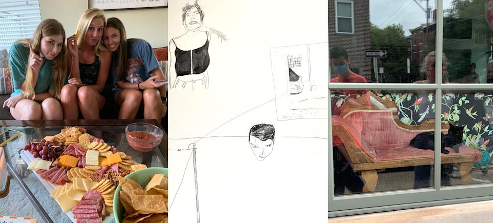 """Clemson University sophomore Elizabeth Rew's roommates pose alongside a charcuterie board they made together; A drawing by Temple university student Kyle Caruthers of his living space, including his roommate, a self portrait, and the street he lives on; Caruthers and a friend, wearing masks, document a lounging cat<span class=""""copyright"""">Courtesy Elizabeth Rew; Courtesy Kyle Caruthers (2)</span>"""