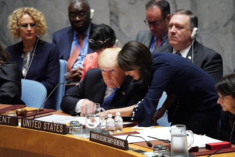 US President Donald Trump, seen here conferring with US ambassador Nikki Haley, chaired a UN Security Council meeting on counter-proliferation, using it to attack Iran (AFP Photo/Don EMMERT)