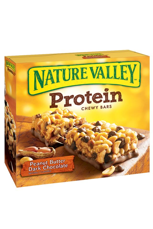 "<p><a rel=""nofollow"" href=""https://www.amazon.com/Nature-Valley-Granola-Protein-Chocolate/dp/B00J0KAJNE?tag=syndication-20"">BUY NOW</a><br></p><p>The chocolate and peanut butter combo of this nutrient-packed protein bar reminded our taste testers of a Reese's peanut butter cup. The combo of whole-grains and filling fiber is ideal for staving off afternoon snack cravings! <span></span><br></p><p><em>190 calories, 3.5g saturated fat, 5g fiber, 10g protein, 6g sugar</em><span><em>, 180mg sodium</em></span><span></span></p>"