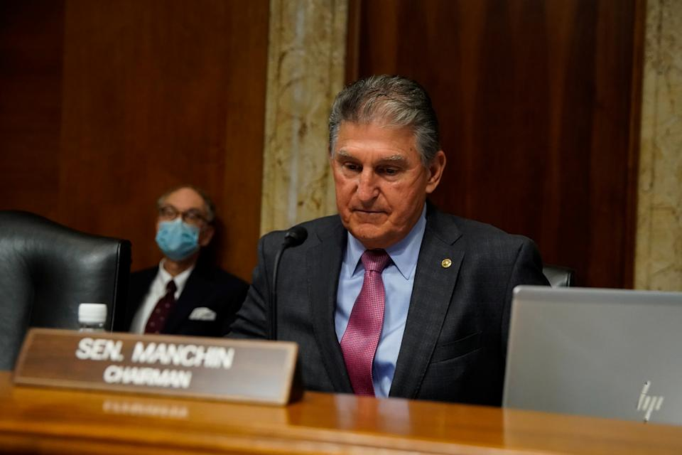 Senate Energy and Natural Resources Committee Chair Joe Manchin (D-WV) presides during a nominations hearing on Capitol Hill in Washington, U.S., September 21, 2021. (Elizabeth Frantz/Reuters)