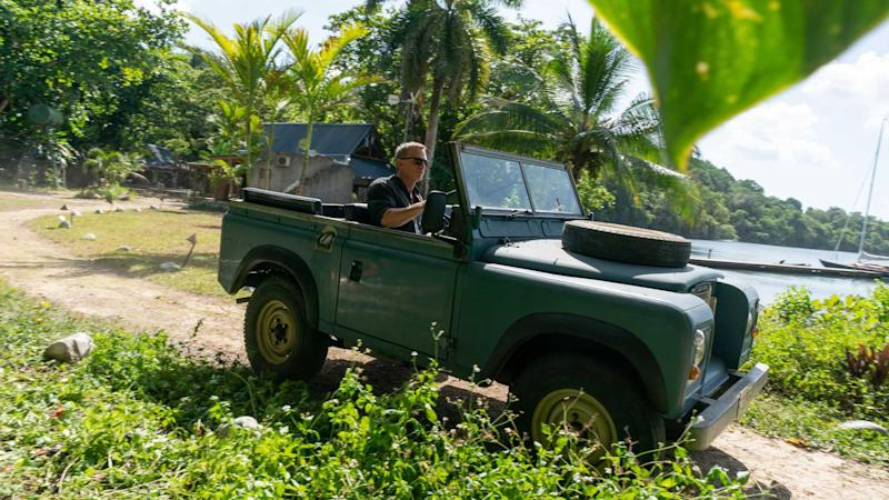 James Bond in his Land Rover Series III in Jamaica
