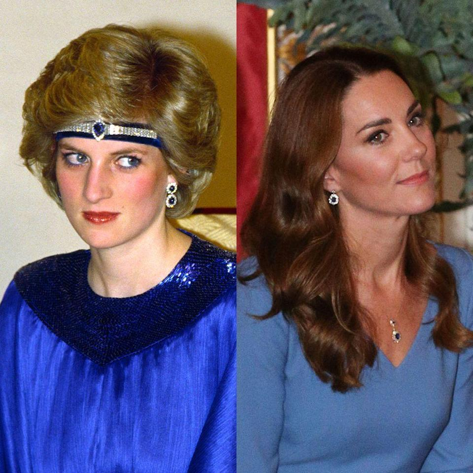 """<p>In the fall of 2020, <a href=""""https://www.townandcountrymag.com/society/tradition/a34327960/kate-middleton-princess-diana-sapphire-jewelry-necklace/"""" rel=""""nofollow noopener"""" target=""""_blank"""" data-ylk=""""slk:Kate debuted a new pendant necklace, which appeared to use precious stones from Princess Diana's famed Saudi suite"""" class=""""link rapid-noclick-resp"""">Kate debuted a new pendant necklace, which appeared to use precious stones from Princess Diana's famed Saudi suite </a>of sapphires—a gift from the Saudi royal family to the late Princess of Wales on the occasion of her wedding, featuring sapphires and diamonds designed to match her<a href=""""https://www.townandcountrymag.com/style/jewelry-and-watches/a13052347/kate-middleton-engagement-ring/"""" rel=""""nofollow noopener"""" target=""""_blank"""" data-ylk=""""slk:Garrard enagement ring."""" class=""""link rapid-noclick-resp""""> Garrard enagement ring.</a></p>"""
