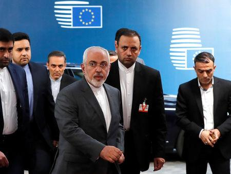 Iran's Foreign Minister Mohammad Javad Zarif arrives at the EU council in Brussels, Belgium May 15, 2018.  REUTERS/Yves Herman