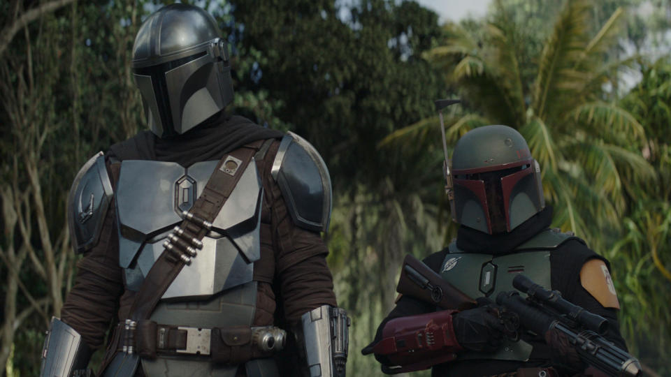 Din Djarin and Boba Fett in 'The Mandalorian' season two. (Credit: Disney+)