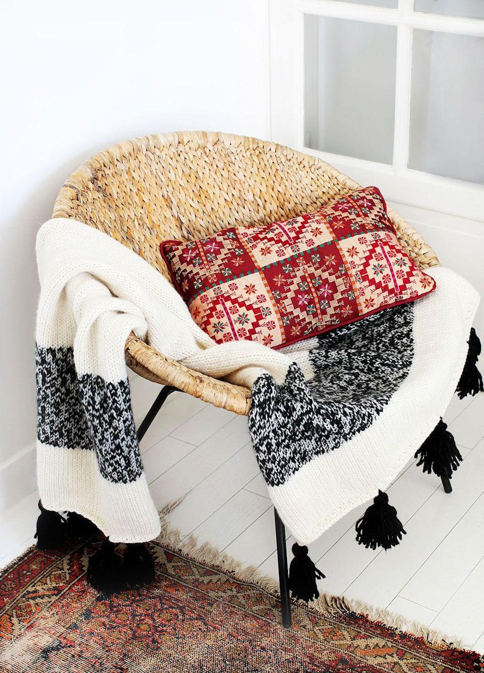 """<p><a class=""""link rapid-noclick-resp"""" href=""""https://www.weareknitters.co.uk/knitting-kit/knitting-levels/beginner-level/the-kilim-blanket"""" rel=""""nofollow noopener"""" target=""""_blank"""" data-ylk=""""slk:BUY NOW"""">BUY NOW</a> <strong>£85, We Are Knitters</strong></p><p>Why should little ones get the best gifts? This blanket is just as soft, and the perfect make for someone who loves a stylish, cosy home. </p><p><strong>What's in the kit? </strong>7 skeins of wool, 8mm knitting needles, the pattern, a smaller knitter's sewing needle, and the embroidered label.</p><p><strong>Best for:</strong> Fashionistas who want their home to look as good as their Instagram feed.</p>"""