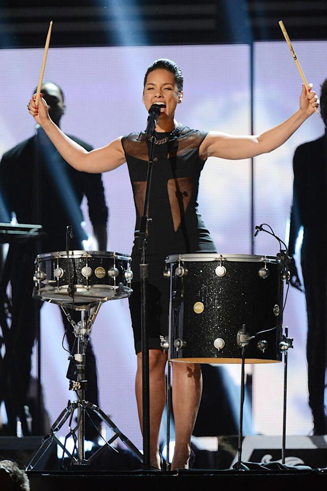 Alicia Keys performs at the 55th Annual Grammy Awards at the Staples Center in Los Angeles, CA on February 10, 2013.