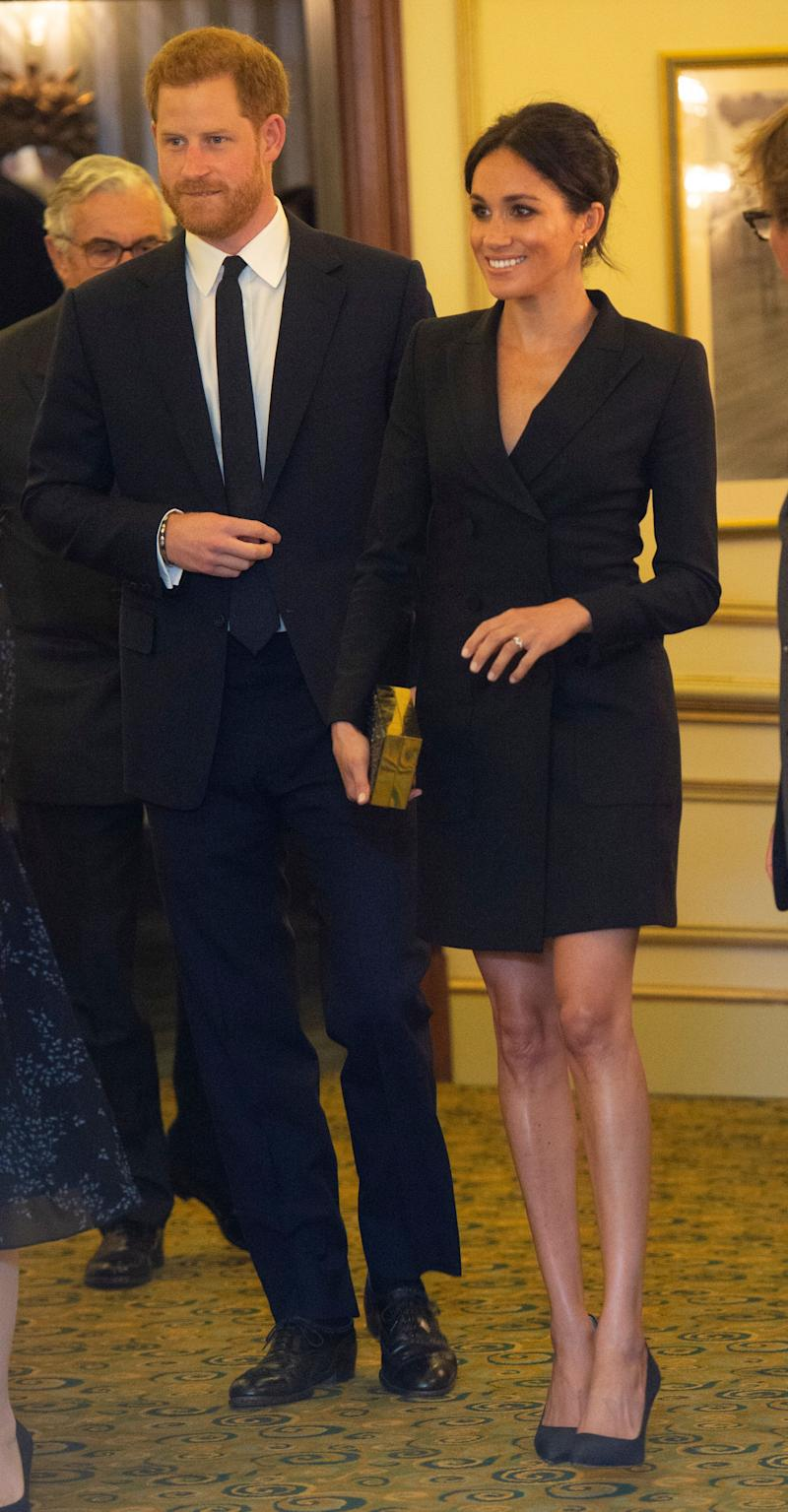 "The Duke and Duchess of Sussex attend a gala performance of ""Hamilton"" in support of Sentebale at Victoria Palace Theatre on Aug. 29 in London."